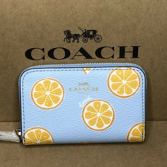 Coach Handbags - Coach Zip Around Coin Case Wallet Orange 🍊 Print